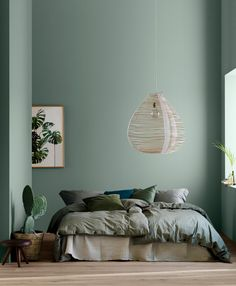 Modern Earthy Home Decor: Soothing bohemian bedroom with soft pistachio green blue walls and rattan hanging lamp Decor Room, Home Decor Bedroom, Diy Home Decor, Bedroom Ideas, Bedroom Wall, Wall Decor, Bedroom Styles, Wall Art, Decoration Home