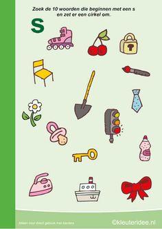 Zoek 10 woorden die beginnen met de s, kleuteridee.nl , taal voor kleuters, free printable.
