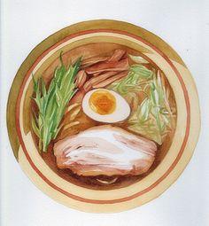 手绘水彩 美食食物 图画 拉面 - 堆糖 发现生活_收集美好_分享图片