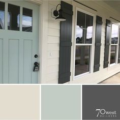 exterior paint colors- SW Oyster White, Peppercorn, and Copen Blue Looove the front door color Exterior Paint Colors For House, Paint Colors For Home, Exterior Paint Ideas, Outside House Paint Colors, Farmhouse Exterior Colors, Outdoor House Colors, Front Door Paint Colors, Outdoor Paint Colors, Farmhouse Shutters