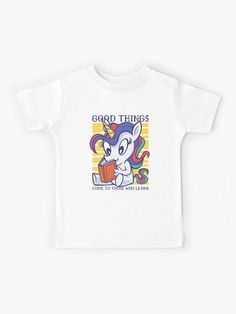 Cute Unicorn Reading A Book Kids T Shirt.  Good Things Come To Those That Learn design that shows a unicorn sitting down and reading a book.  A great gift for the young girl who loves reading.  #unicorn #reading #cute #books #bookworm #girls #children #giftideas #fashion #homedecor #artsandcrafts #stickers #redbubblestickers #redbubble #art #redbubbleshop #ad @giftsbyminuet Red Bubble Stickers, Cute Unicorn, Love Reading, Book Worms, Chiffon Tops, Books To Read, Classic T Shirts, Sisters, Learning