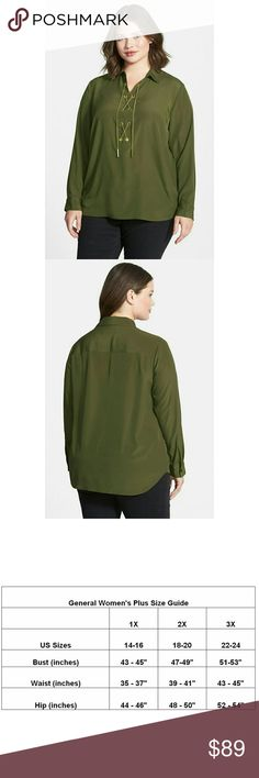 New! MICHAEL KORS Chain Lace-Up Top Blouse Plus A modern, luxe take on a whimsical classic top, this piece from MICHAEL Michael Kors features a gold-tone lace up chain accent on the front.  Color: Duffle Green  Gold-tone chain lace up detail  Point collar  Long sleeves  Button cuffs  Pullover style top  Polyester  Retails for $120 Michael Kors Tops