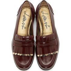 Lanvin: Burgundy Leather Studded Penny Loafers 2014