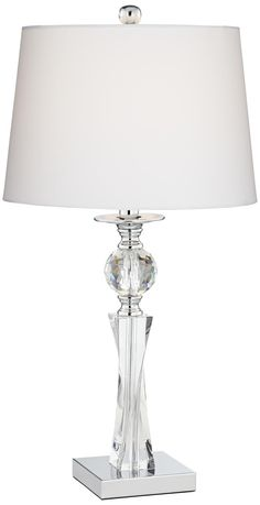 Julian Modern Table Lamp Crystal Column Twist White Drum Shade for Living Room Family Bedroom Bedside Nightstand - Vienna Full Spectrum Crystal Light Fixture, Pendant Light Fixtures, Pendant Lamp, Light Fixtures Bedroom Ceiling, Bedroom Lamps, Master Bedroom, Bedside Lamps Size, Lampe Tactile, Lampe Decoration