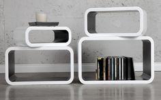 Lounge cubes wandset - wit /zwart | Lounge wand- Kubus | Retro Design meubels, verlichting & cadeaushop, Space Age new vintage voor wand of vloer