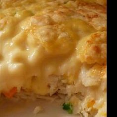 This Chicken and Biscuit Bake is, basically, a cross between chicken and dumplings and a pot pie. In any case, it& fabulously good and comes together in a convenient casserole! - Chicken and Biscuit Bake Turkey Recipes, New Recipes, Chicken Recipes, Cooking Recipes, Favorite Recipes, Recipies, Dinner Recipes, Chicken And Biscuits, Chicken And Dumplings
