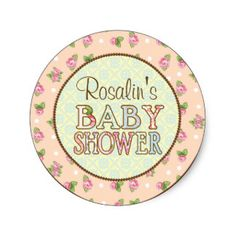 Shabby Chic Baby Shower Stickers