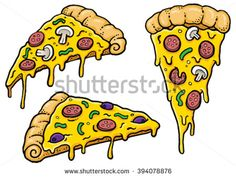 Cartoon Pizza slices with dripping cheese. Vector Illustration.  - stock vector