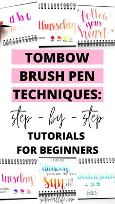 Tombow brush pen techniques for beginners! Read these 7 super easy tutorials to use your brush pens to decorate your bullet journal, hand letter, and create beautiful fonts! Hand Lettering Alphabet, Doodle Lettering, Creative Lettering, Brush Lettering, Calligraphy Alphabet, Hand Lettering 101, Alphabet Fonts, Chalk Lettering, Lettering Styles