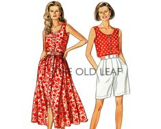 Sewing Pattern for Sleeveless Top, Full Skirt & Pleated Shorts, Easy Simplicity 8356 #EasySewingProjects #PlusSizePatterns #TwoPieceDress #SpringDressPattern #SummerClothesPattern #TheOldLeaf