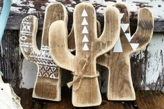 wooden cactus decor