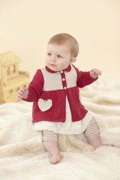 4 Girl's Heart Motif Matinee Coat - 713 The Twenty First Little Sublime Hand Knit Book. Hand Knitting, Knitting Patterns, Be My Valentine, Twenty One, The Twenties, Knit Crochet, Coat, Books, Kids