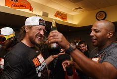 Hunter Pence of the San Francisco Giants celebrates the wild card playoff birth after they defeated the San Diego Padres 9-8 at AT&T Park on September 25, 2014 in San Francisco, California.