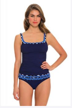 e2be5f0546b27 NWT $160 Profile by Gottex Tankini Blue Lagoon Ruffle Swimsuit 2pc Set  Womens 10