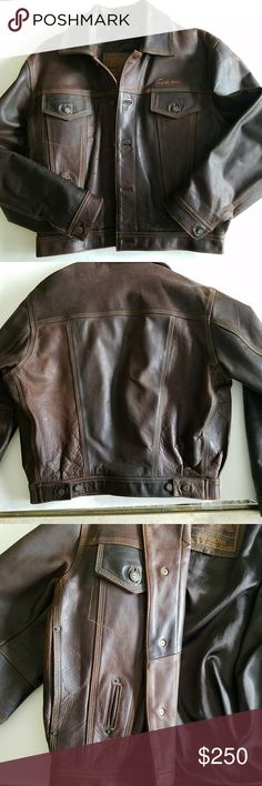 Territoire Redskins Leather Jacket. Awesome vtg leather jacket styled after law enforcement jackets.  Very heavy leather.  Does show minor signs of distress. Has incredible detailing in the design and stitching.  Please note the measurements carefully.  It is a size medium, however, my husband wears a medium and it was tight on him.  Happy to answer any questions you may have and thanks for stopping by. Territoire Redskins Jackets & Coats Bomber & Varsity