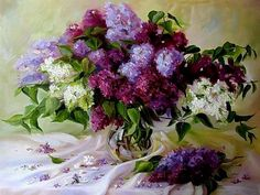 Julia Tomescu-Mazmanian In 2002 graduated f. Purple Flowers Wallpaper, Lilac Flowers, Beautiful Flowers, Flower Photos, Painting & Drawing, Flower Art, Still Life, Floral Wreath, Art Gallery