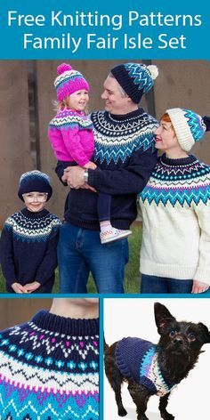 Free Family Sweater and Hat Knitting Patterns - Perfect for family portraits! Matching pullover sweaters with colorful geometric yokes and hats with a matching design in adult and child sizes. There's even a matching dog sweater! Adult sizes Adult XS/S, M, L, XL, 2/3XL, 4/5XL. Child Sizes 2, 4, and 6. Dog Sizes Small, Medium, and Large Dog. Designed by Yarnspirations Design Studio. Aran weight yarn.