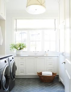 To Create A Liveable, Yet Luxe Laundry Room Wrapped in Caesarstone, bespoke cabinetry and herringbone-laid slate flooring, this serene space is the height of laundry room fashion. Laundry Room Cabinets, Laundry Room Organization, Laundry Room Floors, Small Laundry Rooms, Laundry Room Design, Style Shaker, Laundry Chute, Laundry Room Inspiration, Slate Flooring