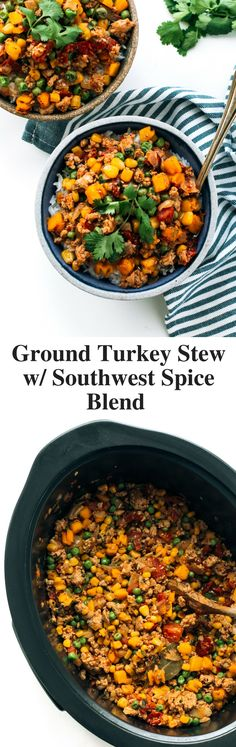 Slow Cooker Ground Turkey with Butternut Squash, Corn, Peas and Southwest Spice Blend #TurkeyTuesday #ad