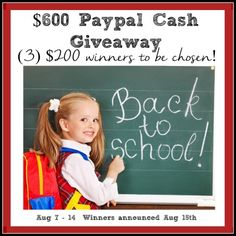 That's right…this $600 Back to School Giveaway will have THREE winners! Just imagine all the supplies you could buy with $200. Maybe even some clothes as well. - See more at: http://inspirationformoms.com