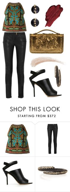 """""""Holiday Edge"""" by dominosfalldown ❤ liked on Polyvore featuring M Missoni, Balmain, 3.1 Phillip Lim, Alexander McQueen, Kevyn Aucoin, Armenta, women's clothing, women, female and woman"""