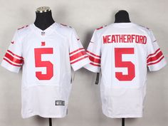 Men's NFL New York Giants #5 Weatherford White Elite Jersey