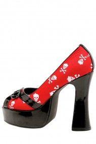 Skully Heel - Black / Red