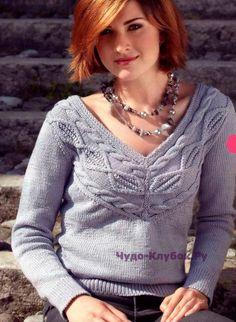 Пуловер с узором из ромбов 1314