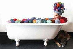 You're can take a swim in your yarn stash | 9 Signs You're Obsessed With Craft Supplies