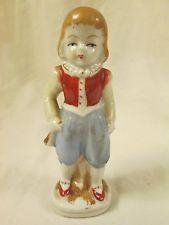 Vintage OCCUPIED JAPAN Figurine,Girl,Red Shoes Vest,Blue Pants,Porcelain