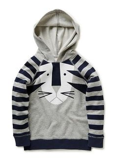 100% Cotton Hoodie. Brushed french terry, with raglan sleeve and hood. Features graphic tiger print on front and printed stripe on sleeve. 1x1 Rib cuff, and hem with contrast flatlock finish. Regular fit, available in Grey Marle.