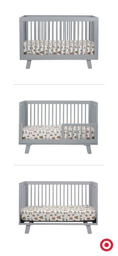 Versatile and modern, the Babyletto Hudson 3-in-1 Convertible Crib grows with your baby, adjusting to both a toddler bed with rail, or a daybed. Available in contemporary and classic colors, this crib will look perfect in any nursery.