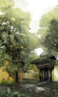 Fantasy Landscape, Landscape Art, Landscape Paintings, Fantasy Art, Chinese Picture, 4 Wallpaper, Natsume Yuujinchou, China Art, Anime Scenery