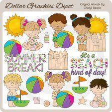 Summer Break Kids - Clip Art