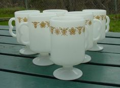 6 Vintage Pyrex Corning Butterfly Gold Tall Pedestal Mugs RARE