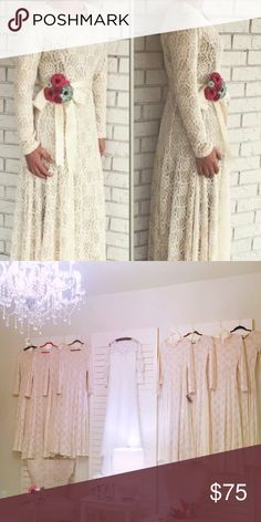 Lace long sleeve maxi Dress Can be dressed up or down! Worn once for a wedding. Fits bodice then falls elegantly. Ankle length. No flaws, perfect condition!💕 open to offers. Dresses Maxi