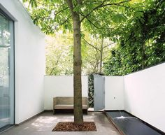 What a sweet place to sit under the trees and relax. Love this minimalist outdoor area!