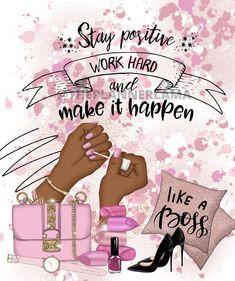 Black Love Art, Black Girl Art, Art Girl, Pink Black, Hot Pink, Boss Quotes, Girl Quotes, Woman Quotes, Mary Kay