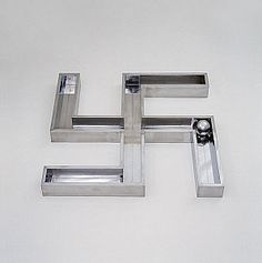 """Walter De Maria: Museum Piece, 1966. The swastika, emblem of Nazism, was once representative of prosperity, regeneration, and goodwill. By titling the swastika """"Museum Piece"""", De Maria seems also to have been commenting on the neutralizing effects of the museum environment, in which cultural artifacts, removed from their original contexts, can be reduced to visual equivalences."""