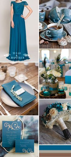 rustic and vintage teal wedding ideas,bridesmaid dresses and wedding invitations