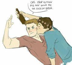 No you get kisses Supernatural Comic, Castiel, Destiel Fanart, Dean And Cas, Geek Crafts, Otp, Cute Pictures, Disney Characters, Fictional Characters