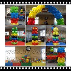 balloon arch and columns! Ninja Birthday, Lego Birthday Party, 6th Birthday Parties, 1st Boy Birthday, Lego Ninjago, Ninjago Party, Lego Party Decorations, Balloon Decorations, Lego Balloons