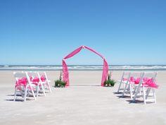 PVC Wedding Arch with Pink Fuchsia Chiffon, White Wedding Chairs Fuchsia Organza Bow Chair Sashes, Hot Pink, Ceremonies by the Sea, Beach Wedding
