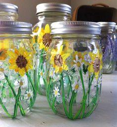 Sunflower and Daisy Hand Painted Ball Mason Jar