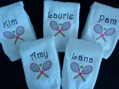 Personalized tennis towel - sports towel - tennis gift - crossed tennis rackets with tennis ball. $11.95, via Etsy.