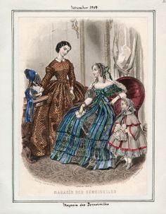 In the Swan's Shadow: Magasin des Demoiselles, November 1858.  Civil War Era Fashion Plate