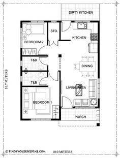 Two bedroom small house design is small version of Ruben Model. Simple design with long span galvanized iron roofing, pre-paint metal tile effect on steel purlins and trusses. Two Bedroom House Design, 2 Bedroom House Plans, Bungalow House Design, Tiny House Design, Modern House Design, Home Map Design, Interior Design, Small House Plans, House Floor Plans