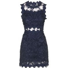 TOPSHOP Structured Lace Bodycon Dress (190 CAD) ❤ liked on Polyvore featuring dresses, topshop, navy, lace bodycon dress, fitted dresses, bodycon dress, navy bodycon dress and navy dress
