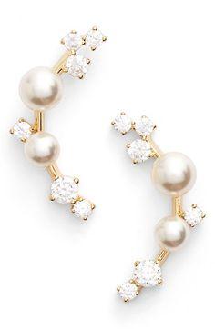 Pearl ear jacket earrings