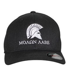 873b52e59e61c Men s  Molon Labe  Embroidered Flexfit Baseball Cap Black With White  Stitching CD184EZOE2O